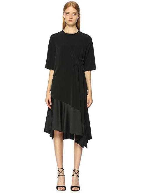 Academia Yarım Kollu Volanlı Midi Elbise Siyah